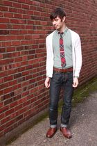 white Old Navy cardigan - red Urban Outfitters tie - green thrifted shirt - blue