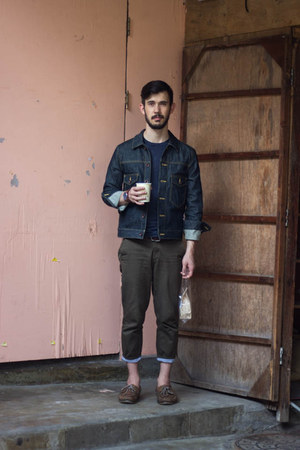 blue Todd Snyder jacket - dark brown Sperry boat shoes shoes - blue H&M t-shirt