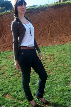 made by me top - cotton on jacket - Just jeans jeans - K-mart shoes - Mums belt