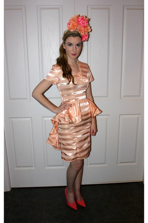 peach stripes Jayde Hayes Designs dress - peach flowers Jayde Hayes Designs hat