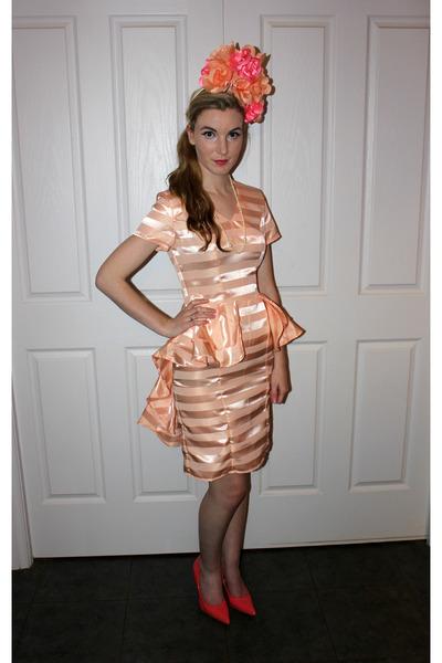 peach stripes Jayde Hayes Designs dress - peach flowers Jayde Hayes Designs  hat b90abd77622