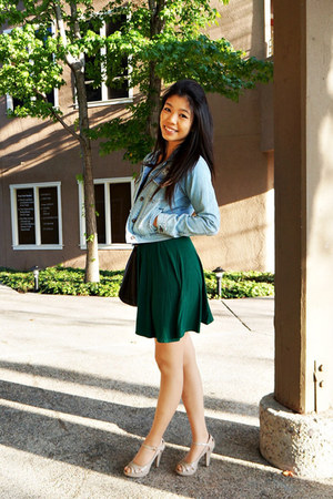 periwinkle denim jacket Forever 21 jacket - dark green Forever 21 dress