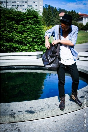 boots - Levis jeans - fedora H&M hat - American Apparel shirt - thrifted shirt -