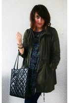 green H&M jacket - blue Topshop jeans - purple Primark dress - black Ebay neckla