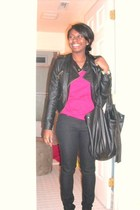 black Forever21 jacket - pink Forever 21 shirt - black Forever 21 jeans