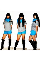black boots - sky blue scarf - sky blue shorts - heather gray top