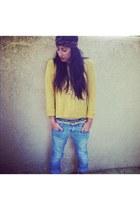 mustard Forever 21 sweater - light blue REFUGEE jeans