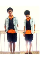black vintage shorts - brown vintage shoes - heather gray thrift jacket