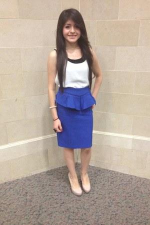 royal blue skirt - nude heels