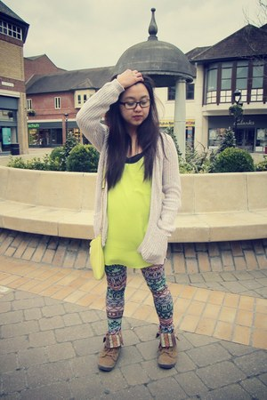 chartreuse River Island top - Boohoocom leggings - lime green River Island bag