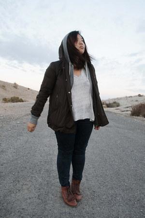 Zara jeans - Topshop boots - Zara jacket - H&M hoodie - madewell t-shirt