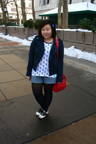 blue Forever 21 jacket - white Urban Outfitters t-shirt - Urban Outfitters shoes