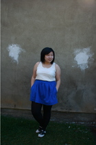 white Forever 21 top - blue Urban Outfitters skirt - white Urban Outfitters shoe