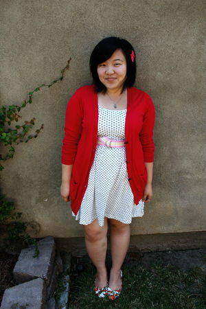 red Zara cardigan - white Forever 21 dress - Forever 21 shoes - pink Gap belt -