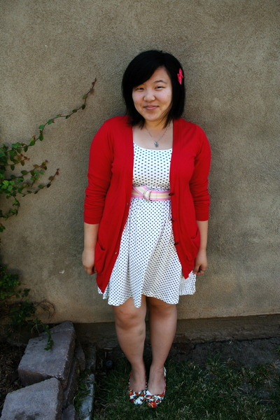 Red Zara Cardigans, White Forever 21 Dresses, Forever 21 Shoes ...