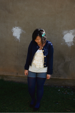 blue Urban Outfitters jacket - beige Urban Outfitters shirt - blue Forever 21 ti