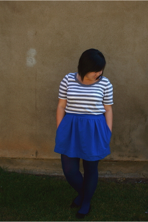 blue Urban Outfitters skirt - white American Eagle t-shirt - blue Forever 21 tig