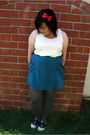 white Forever 21 top - blue Urban Outfitters skirt - red Kaitlyn accessories - g