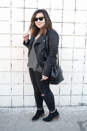 black Dolce Vita boots - black distressed Zara jeans - black pleather jacket