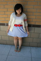 beige Gap cardigan - red H&M belt - beige Forever 21 top - blue J Crew skirt - g