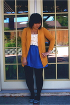 gold Urban Outfitters sweater - white Urban Outfitters shirt - blue Urban Outfit