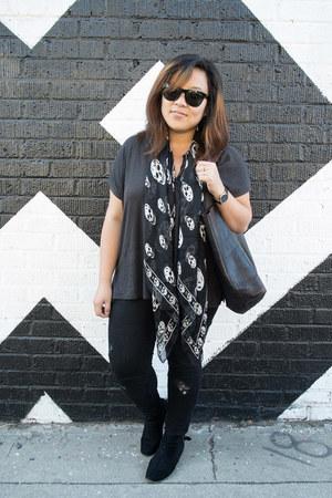 Alexander McQueen scarf - Dolce Vita boots - Zara jeans - madewell bag