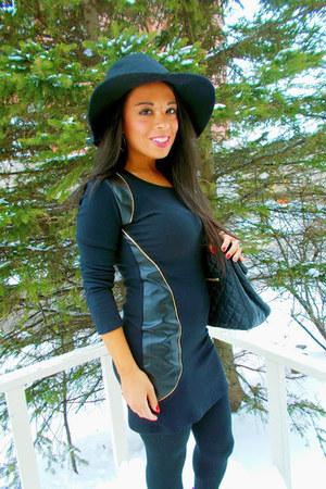 black leather tbdress dress - black floppy hat le chateau hat