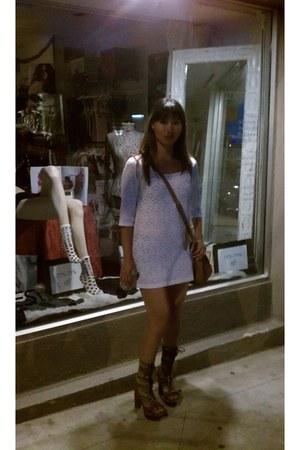 multi Jeffrey Campbell boots - white vintage dress