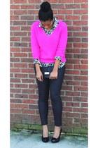 Forever21 sweater - Forever21 jeans - Old Navy shirt - BCBG heels