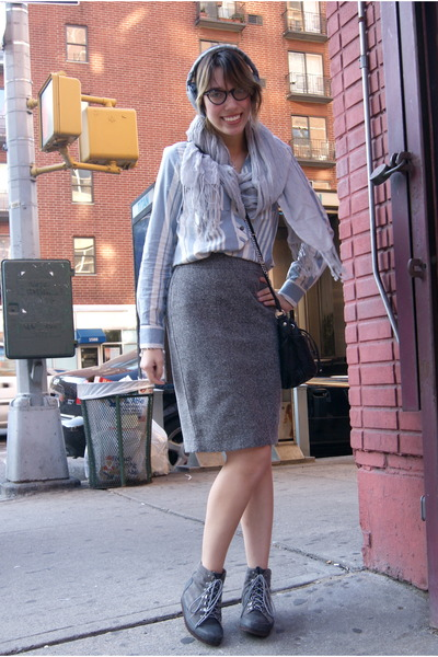 citrine necklace - stripes I heart ronson shirt - scarf