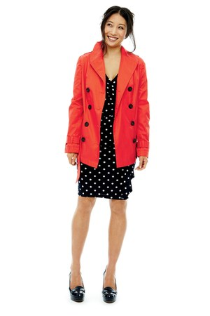 navy American Living dress - red belted trench St Johns Bay coat