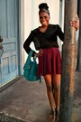 Black-forever-21-black-blouse-crimson-pleated-skirt