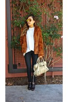 faux fur Forever 21 coat - wedges Aldo boots - balenciaga bag