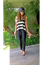 leather cap asos hat - strappy Shoes shoes - striped Top shirt