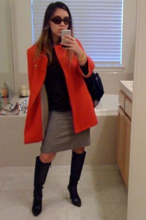 brown sweater - orange jacket - gray skirt - brown boots - black