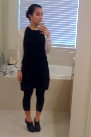 black dress - black boots - black tights - white cardigan