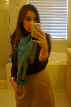 blue scarf - brown sweater - brown boots - beige skirt