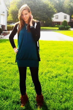 Forever21 dress - Forever21 sweater - Forever21 tights - Minnetonka shoes