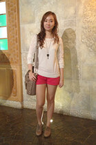 red Mango shorts - dark khaki Esprit shoes - bronze Forever 21 bag