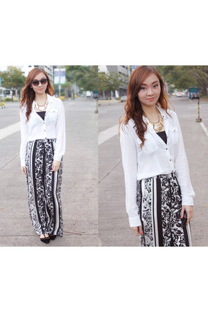 black Forever 21 sunglasses - white Forever 21 blouse - black Forever 21 pants