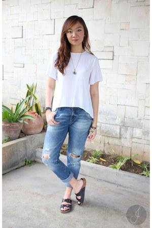 white Zara blouse - navy Zara pants - black Topshop sandals