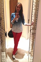 navy Forever 21 blouse - white Sperry Top-Rider shoes - red Terranova pants