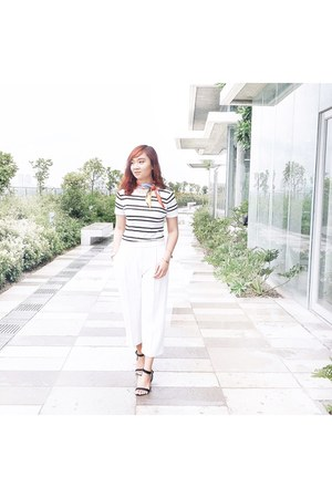 white Forever 21 top - white Uniqlo pants