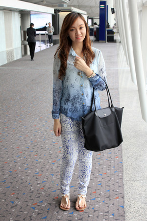 blue ombre Sunny Side Up blouse - black longchamp bag - white Forever 21 flats