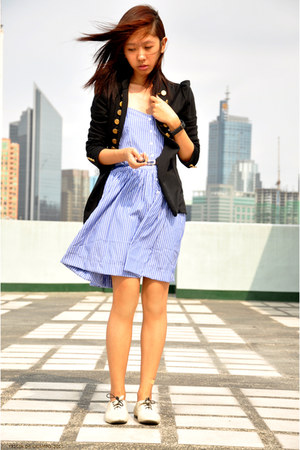 eggshell oxfords ichigo shoes - aquamarine striped dress - black military jacket