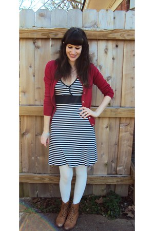 brown vintage boots - navy Forever 21 dress - ivory tights