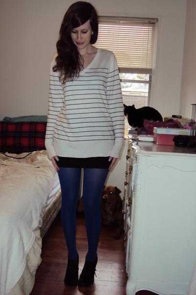 bc01b8b90a77e white striped Target sweater - blue Target tights - black Target skirt -  black T