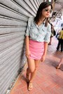 Denim-cotton-on-top-pink-wysteria-skirt-brown-suede-charles-keith-sandals
