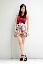 brick red printed shopabcd skirt