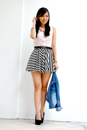 black striped skater Fashion Infinity skirt